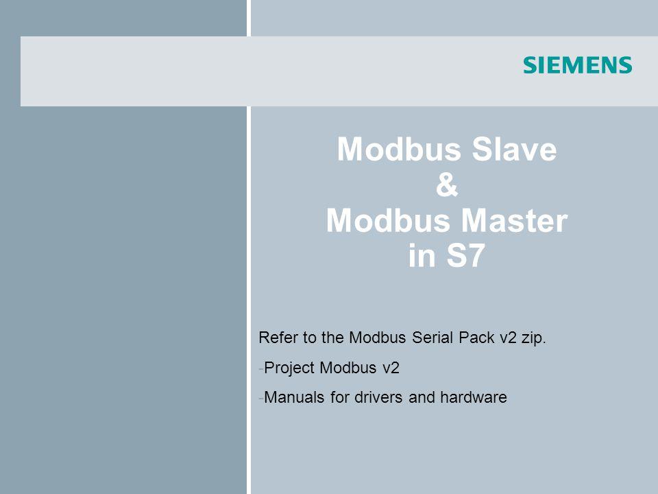 Modbus Slave & Modbus Master in S7