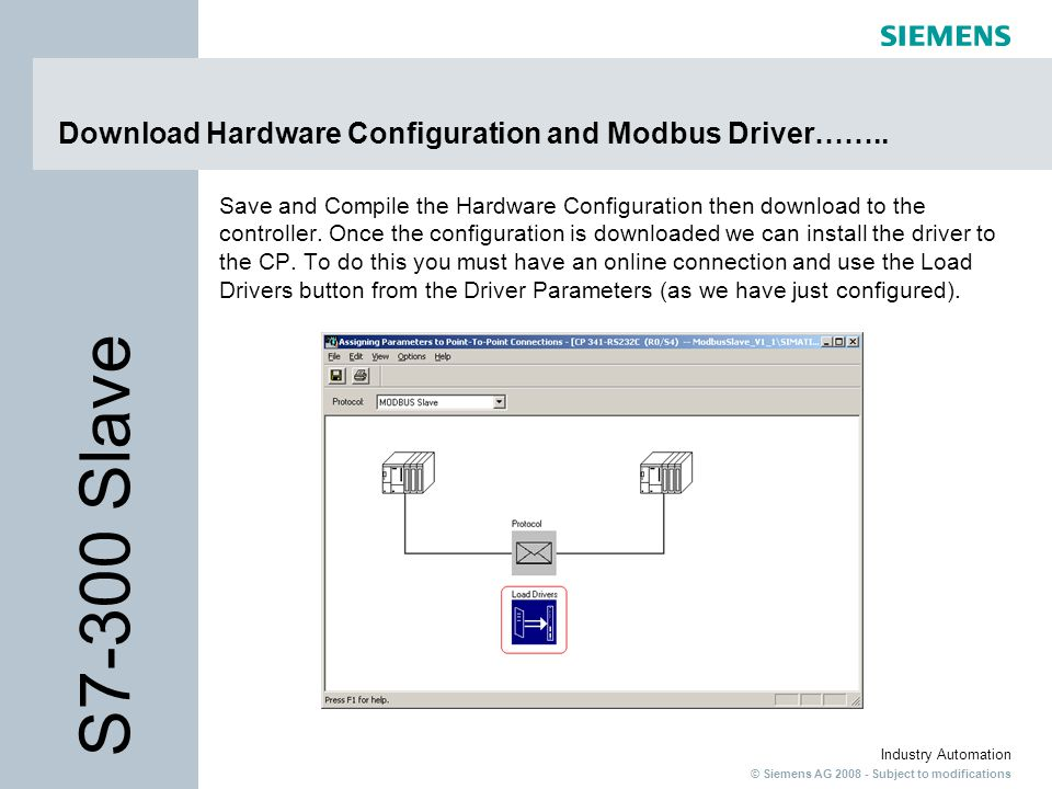 Download Hardware Configuration and Modbus Driver……..