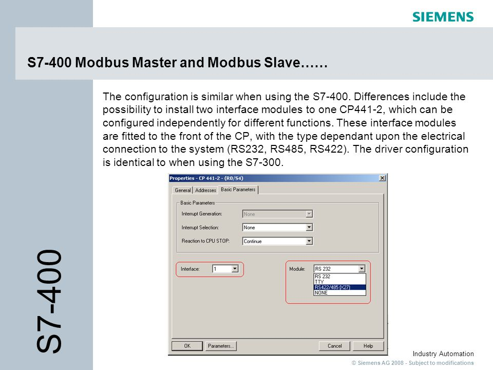 S7-400 Modbus Master and Modbus Slave……