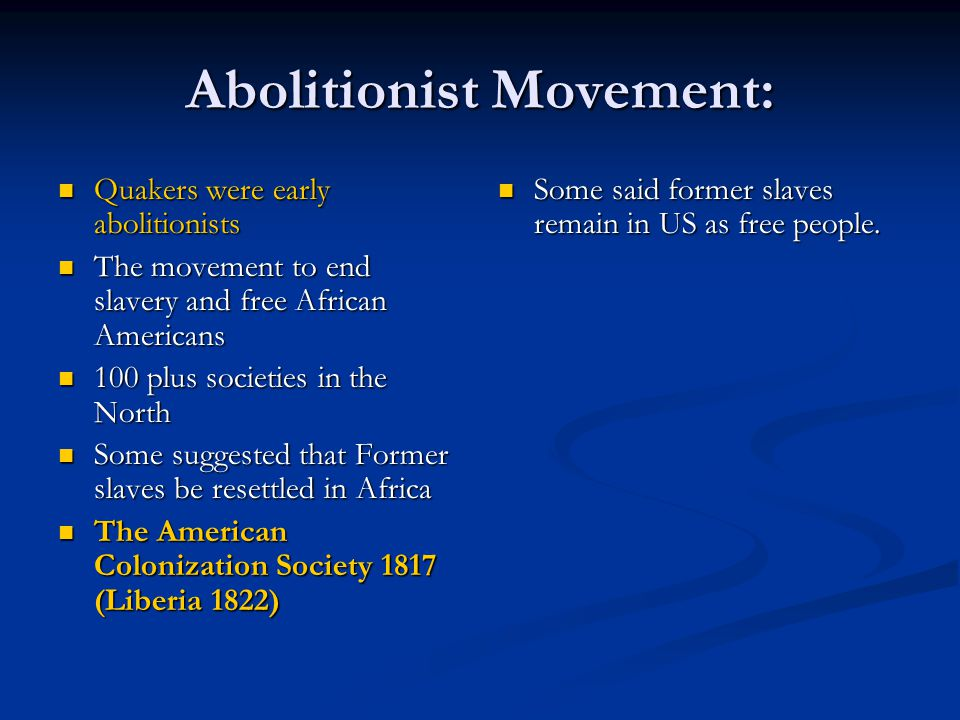 Abolitionist Movement: