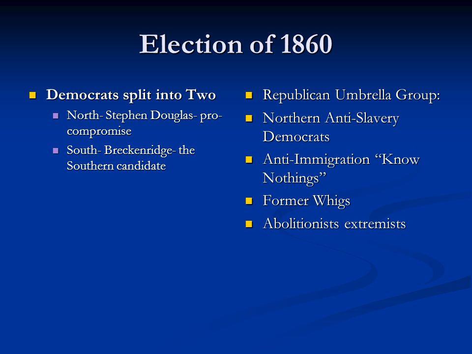 Election of 1860 Democrats split into Two Republican Umbrella Group: