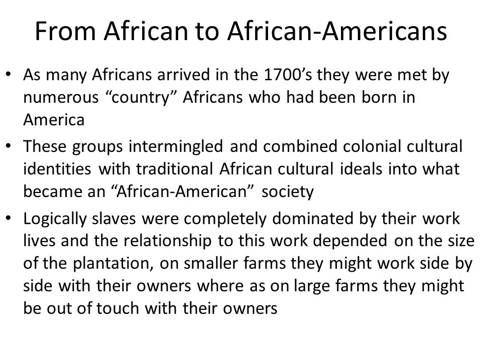 From African to African-Americans