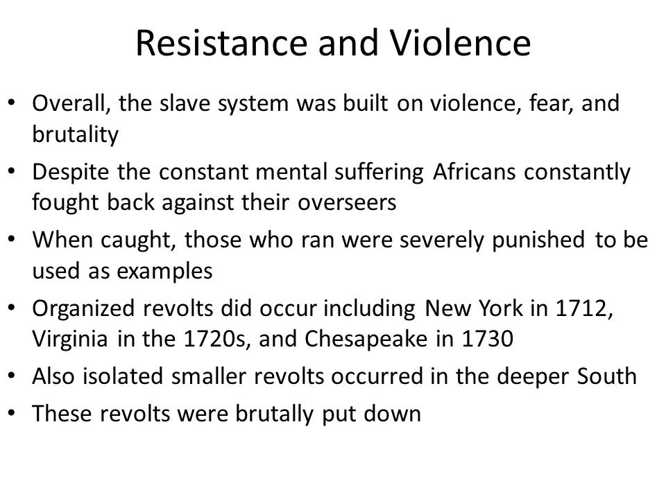 Resistance and Violence