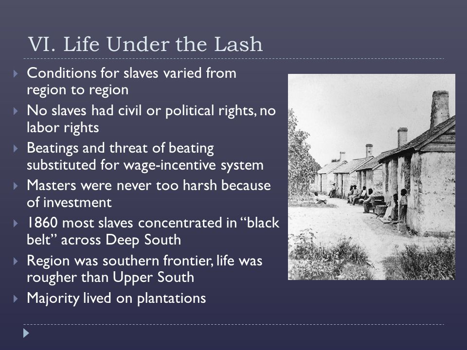 VI. Life Under the Lash Conditions for slaves varied from region to region. No slaves had civil or political rights, no labor rights.