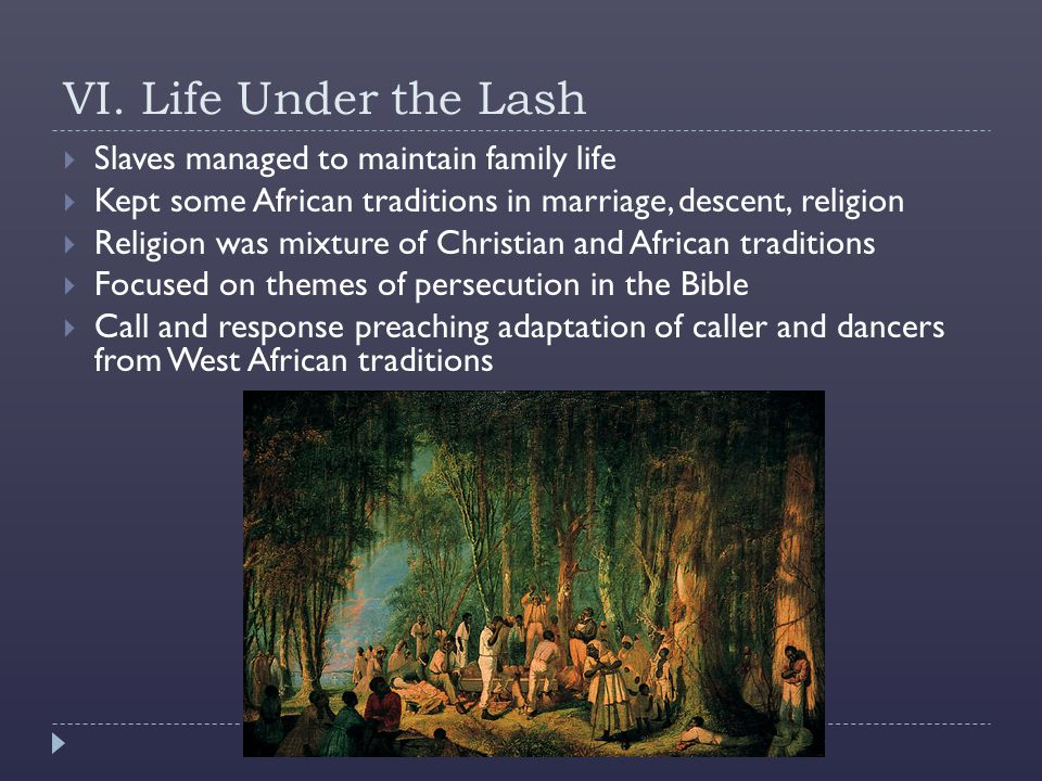 VI. Life Under the Lash Slaves managed to maintain family life