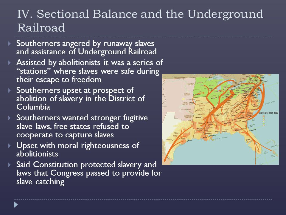 IV. Sectional Balance and the Underground Railroad