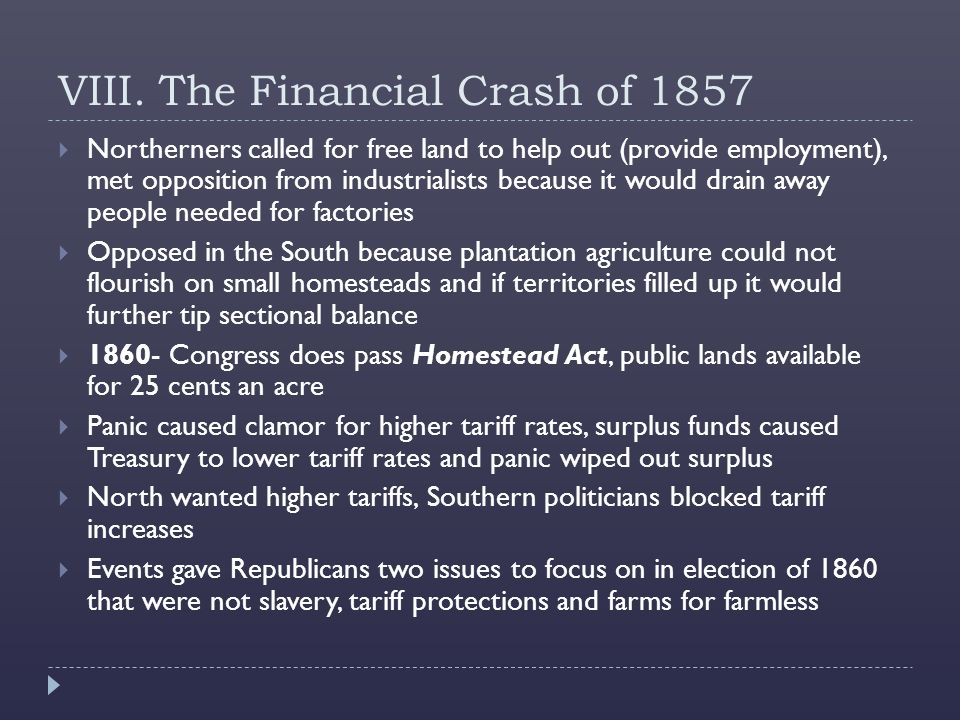 VIII. The Financial Crash of 1857