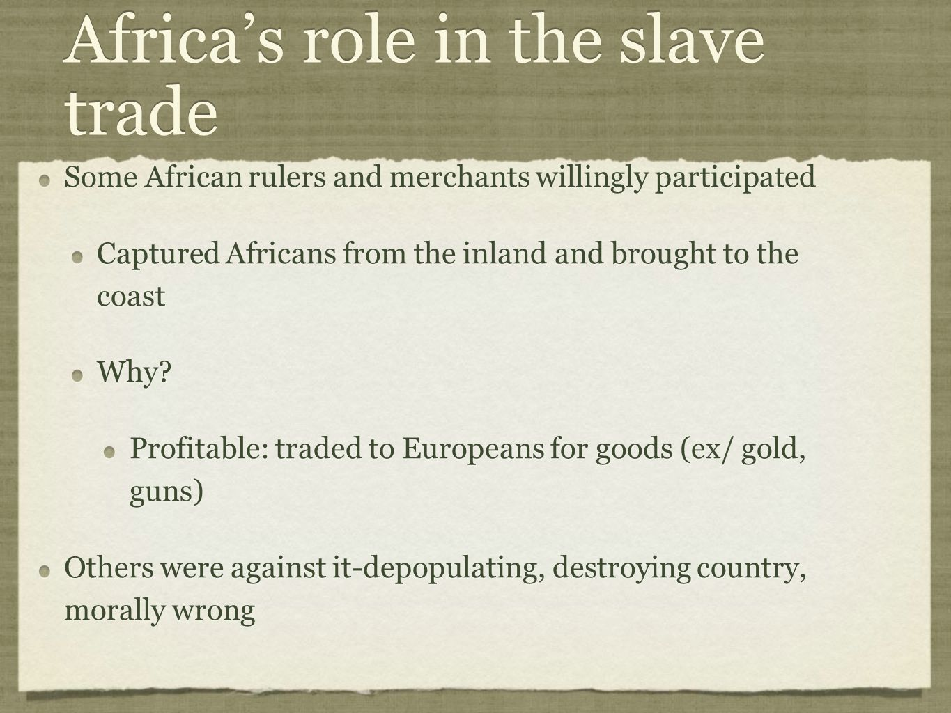 Africa's role in the slave trade
