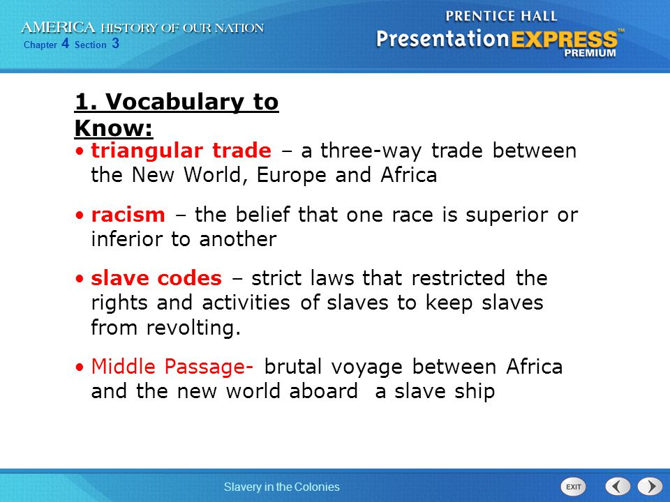 1. Vocabulary to Know: triangular trade – a three-way trade between the New World, Europe and Africa.