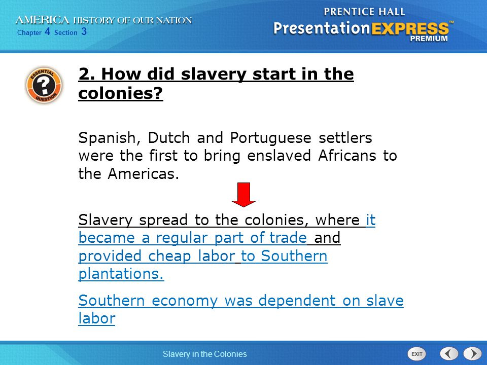 2. How did slavery start in the colonies