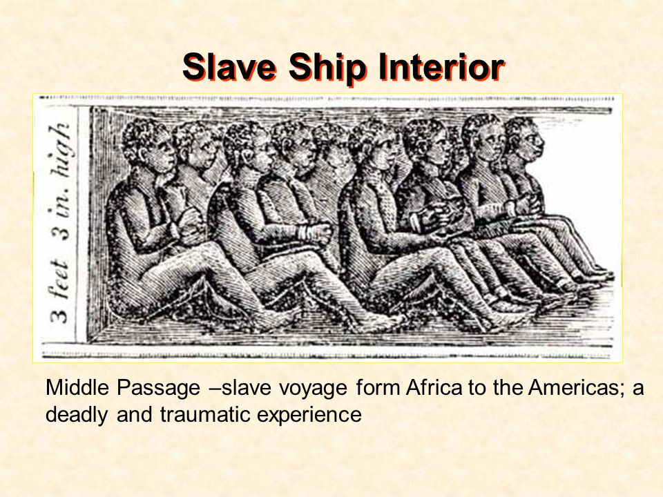 Slave Ship Interior Middle Passage –slave voyage form Africa to the Americas; a deadly and traumatic experience.
