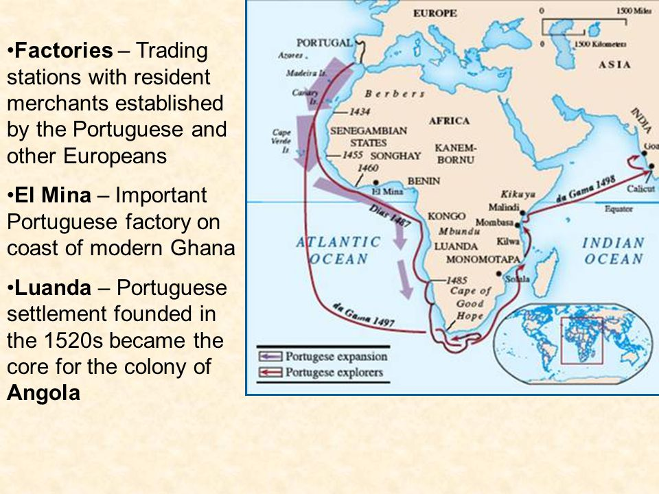Factories – Trading stations with resident merchants established by the Portuguese and other Europeans