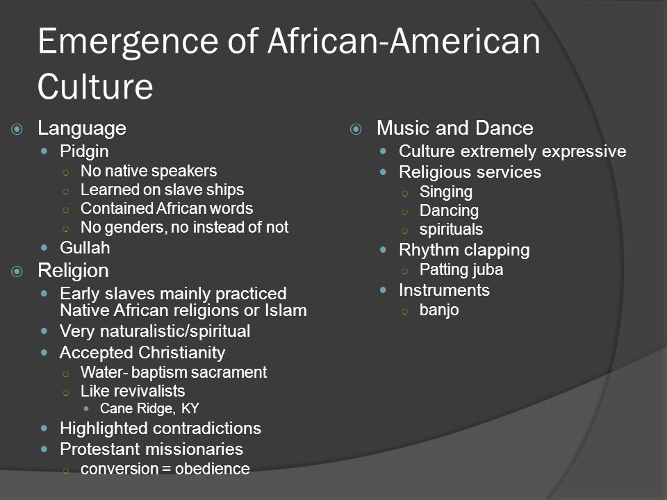 Emergence of African-American Culture
