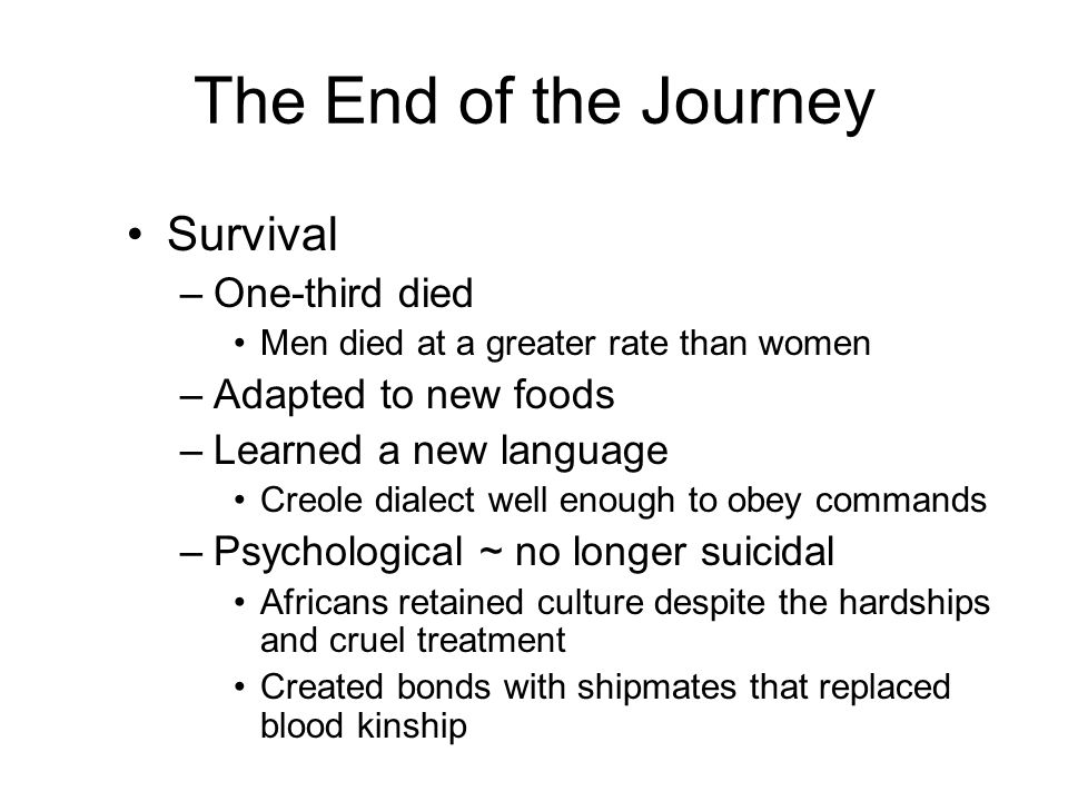 The End of the Journey Survival One-third died Adapted to new foods