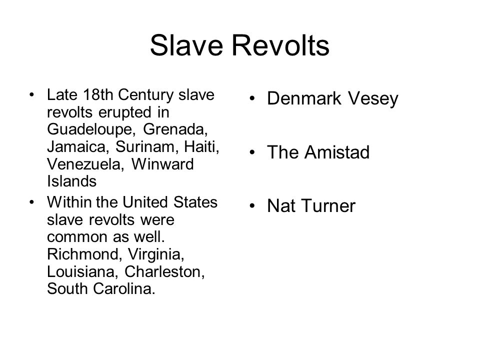 Slave Revolts Denmark Vesey The Amistad Nat Turner