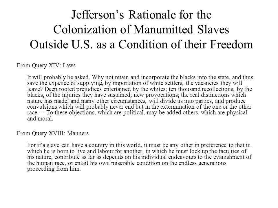 Jefferson's Rationale for the Colonization of Manumitted Slaves Outside U.S. as a Condition of their Freedom