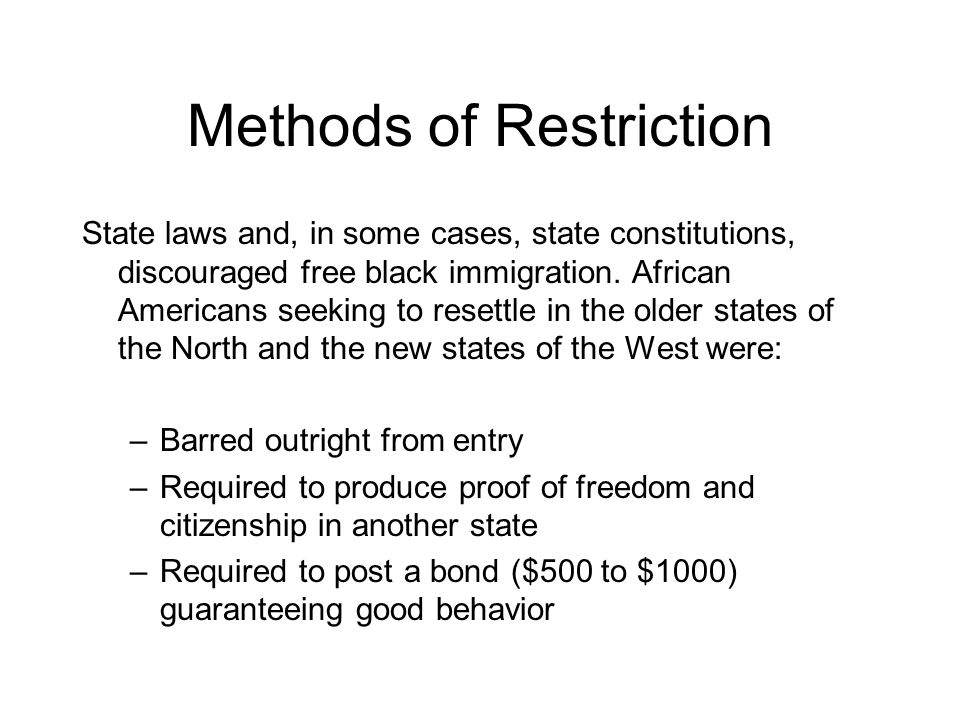 Methods of Restriction