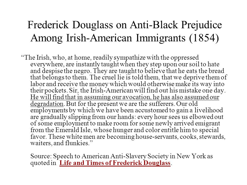 Frederick Douglass on Anti-Black Prejudice Among Irish-American Immigrants (1854)