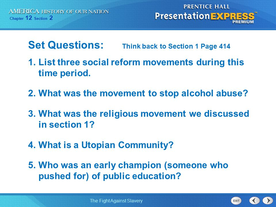 Set Questions: Think back to Section 1 Page 414