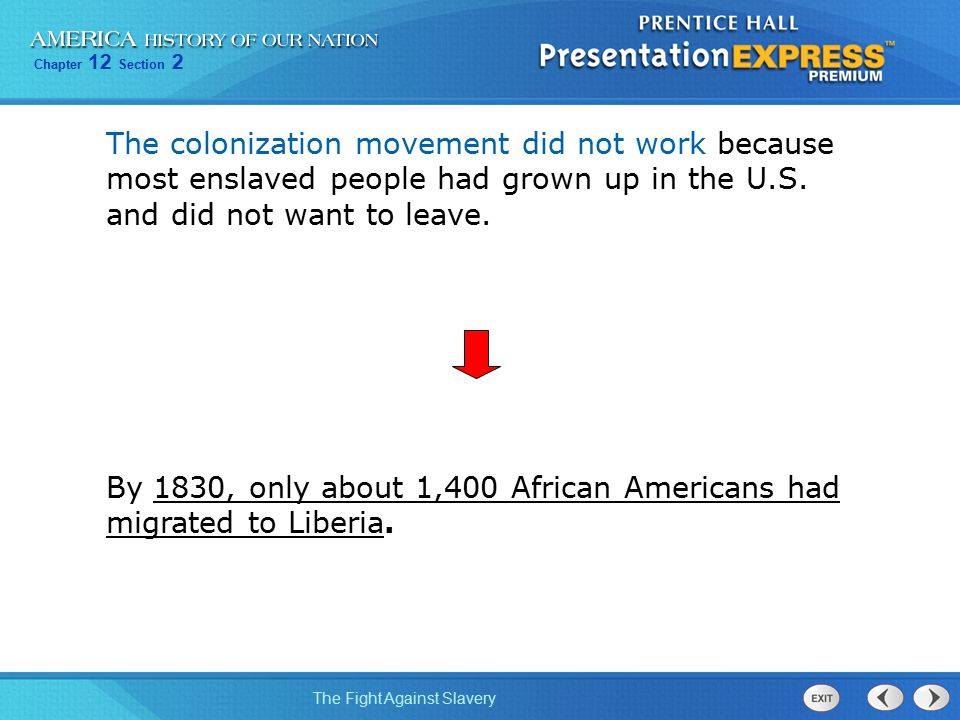 The colonization movement did not work because most enslaved people had grown up in the U.S. and did not want to leave.