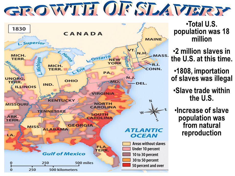 GROWTH OF SLAVERY Total U.S. population was 18 million