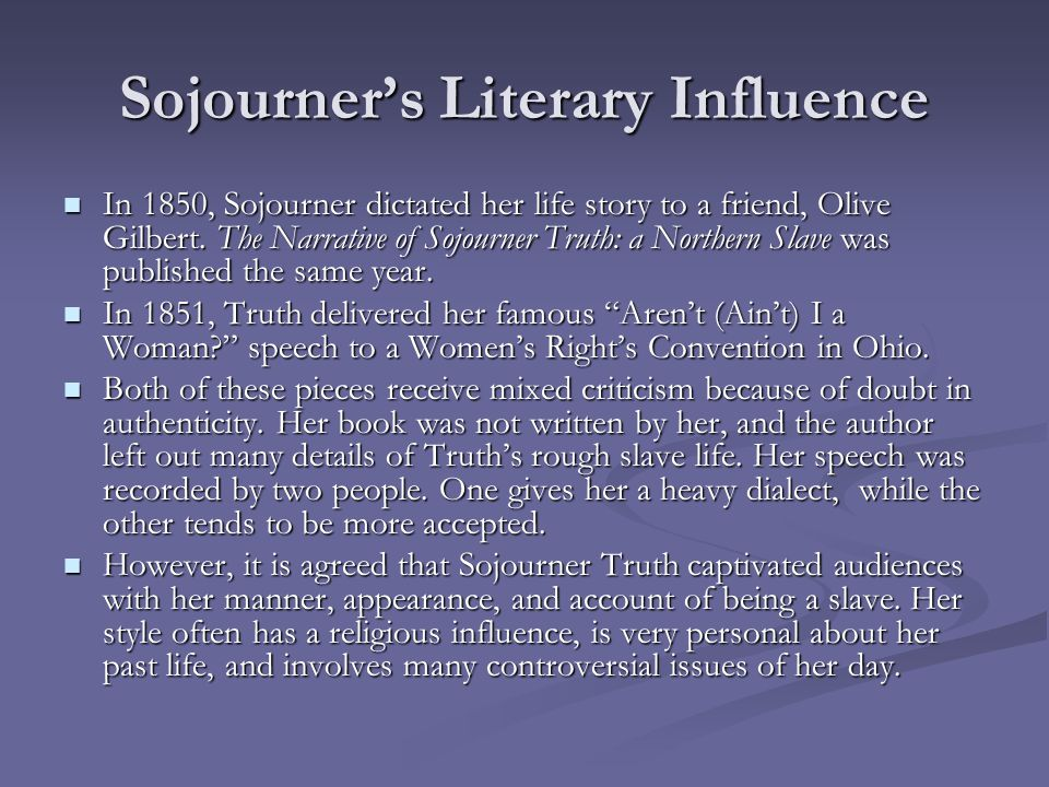 Sojourner's Literary Influence