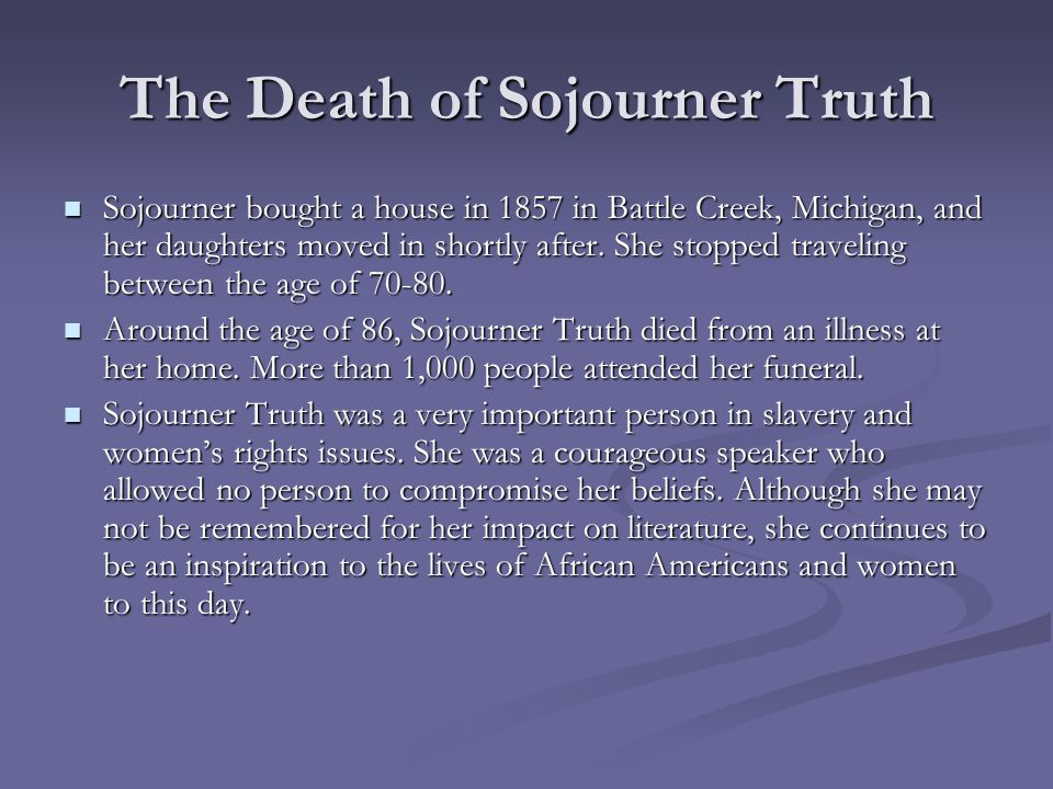 The Death of Sojourner Truth