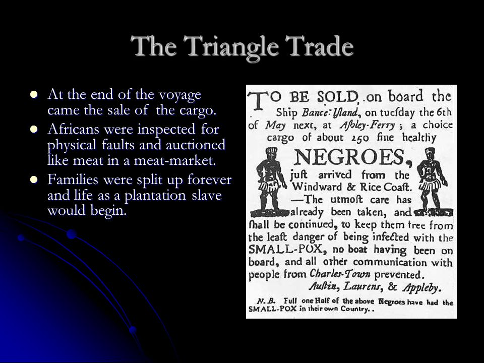 The Triangle Trade At the end of the voyage came the sale of the cargo.