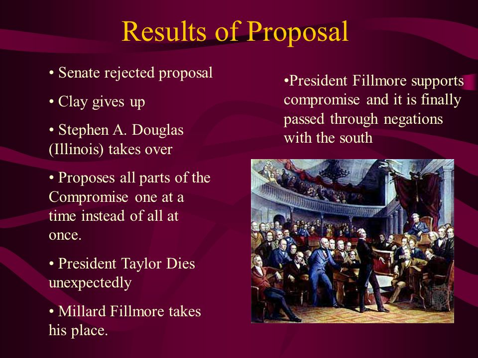 Results of Proposal Senate rejected proposal Clay gives up