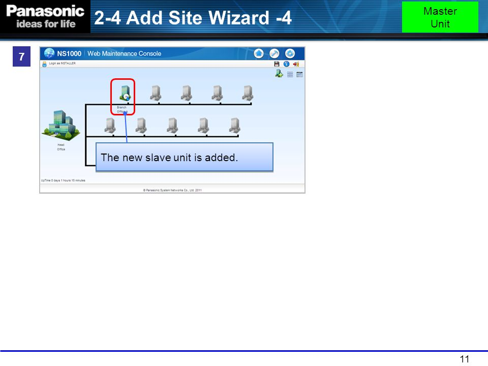 2-4 Add Site Wizard -4 Master Unit 7 The new slave unit is added.