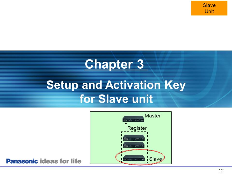 Setup and Activation Key for Slave unit