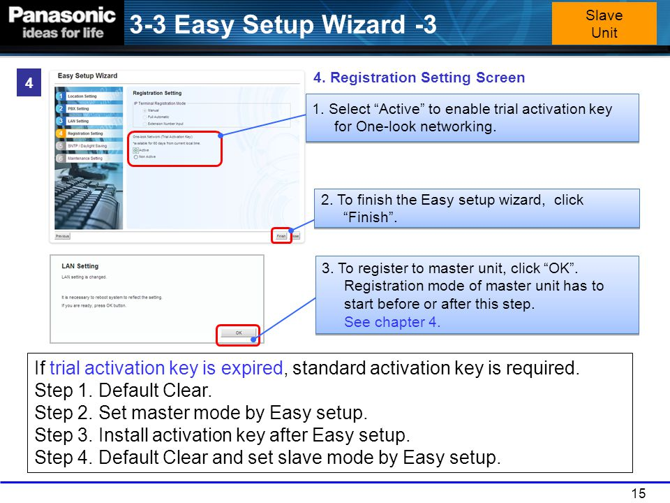 3-3 Easy Setup Wizard -3 Slave Unit. 4. Registration Setting Screen. 4. 1. Select Active to enable trial activation key for One-look networking.