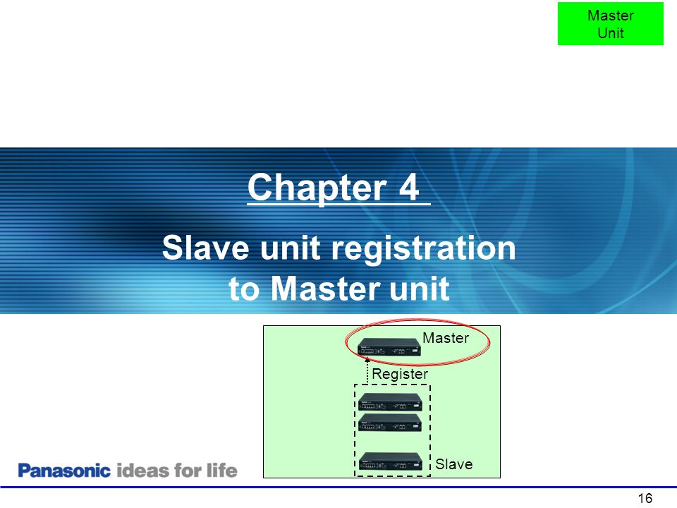 Slave unit registration to Master unit