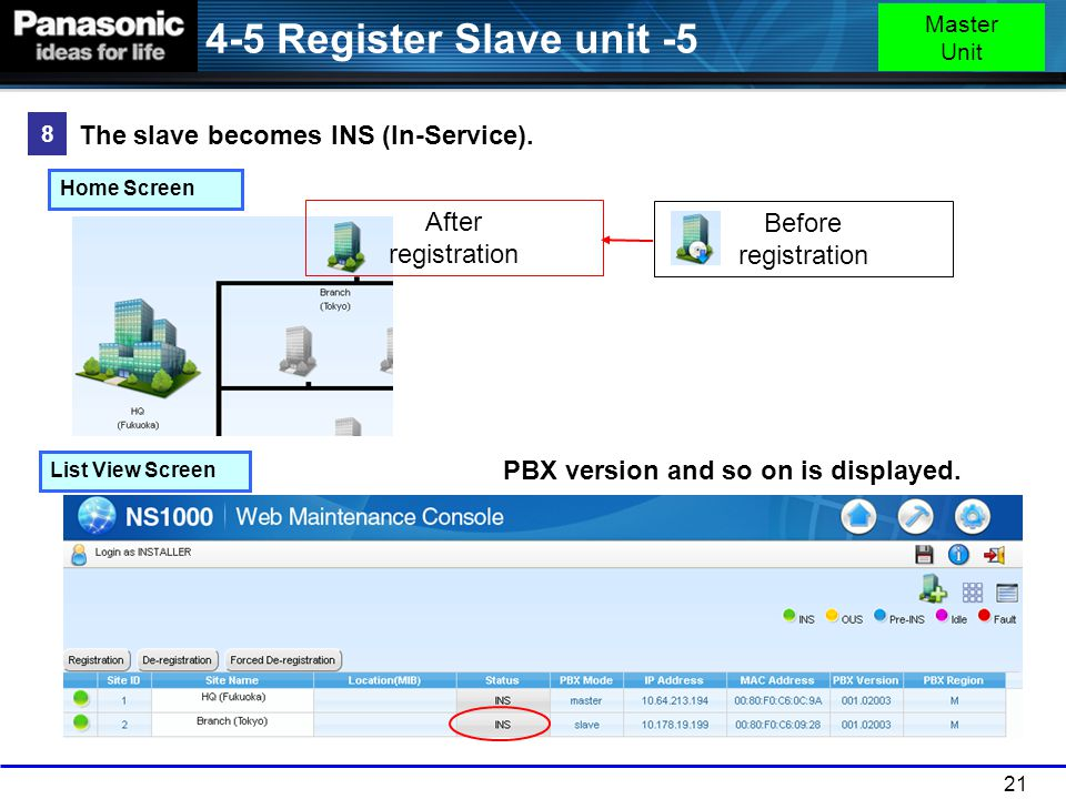 4-5 Register Slave unit -5 The slave becomes INS (In-Service).