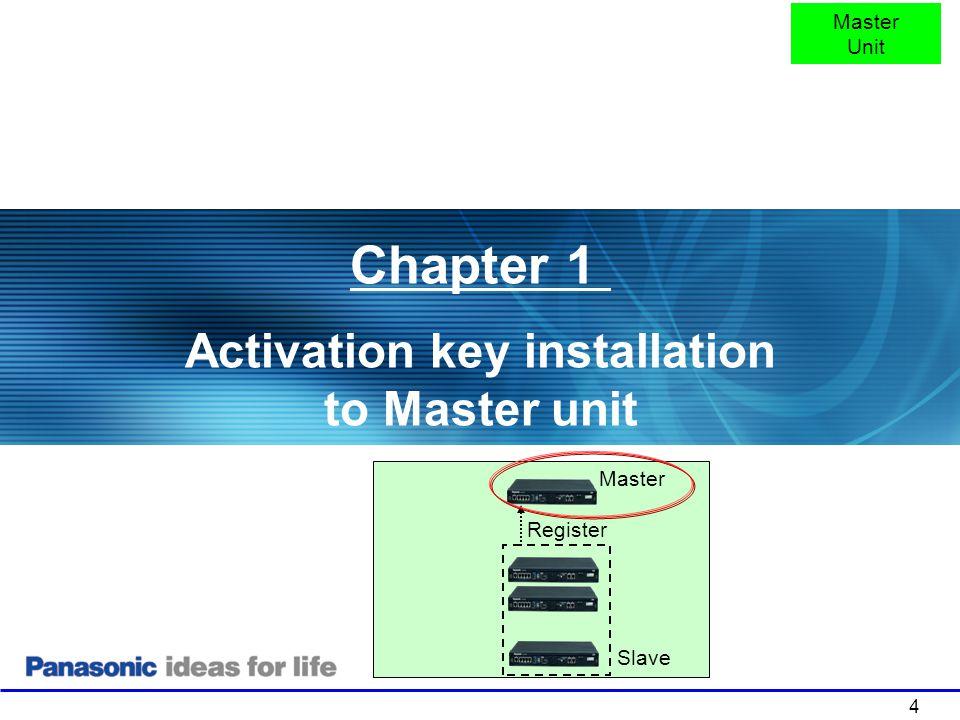 Activation key installation to Master unit
