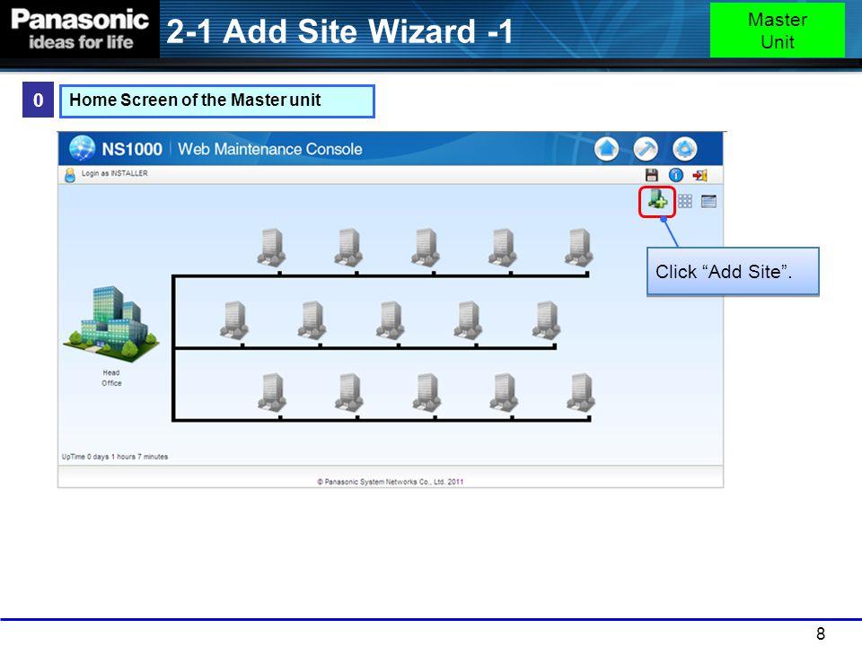 2-1 Add Site Wizard -1 Master Unit Click Add Site .