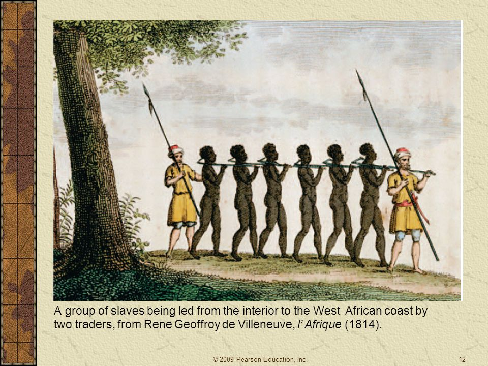 A group of slaves being led from the interior to the West African coast by two traders, from Rene Geoffroy de Villeneuve, l' Afrique (1814).