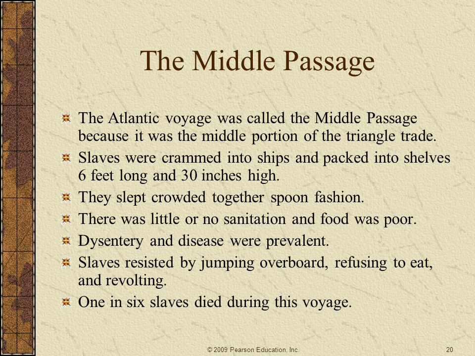 The Middle Passage The Atlantic voyage was called the Middle Passage because it was the middle portion of the triangle trade.
