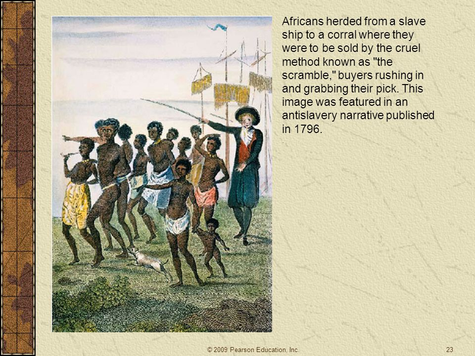 Africans herded from a slave ship to a corral where they were to be sold by the cruel method known as the scramble, buyers rushing in and grabbing their pick. This image was featured in an antislavery narrative published in 1796.
