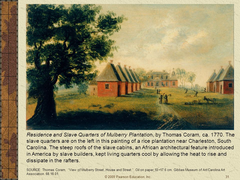 Residence and Slave Quarters of Mulberry Plantation, by Thomas Coram, ca. 1770. The slave quarters are on the left in this painting of a rice plantation near Charleston, South Carolina. The steep roofs of the slave cabins, an African architectural feature introduced in America by slave builders, kept living quarters cool by allowing the heat to rise and dissipate in the rafters.