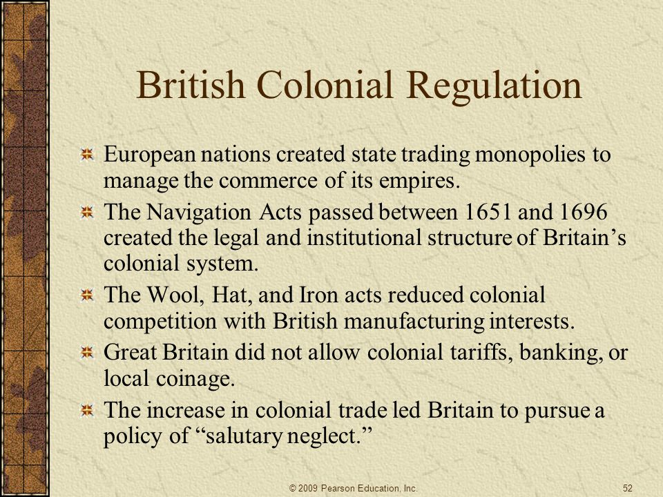 British Colonial Regulation