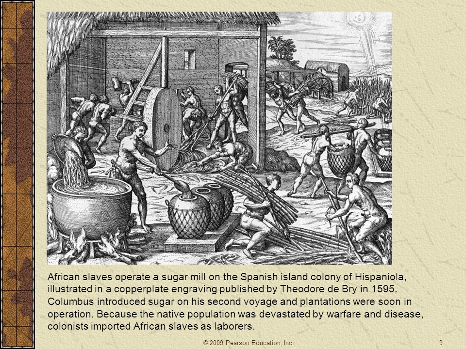 African slaves operate a sugar mill on the Spanish island colony of Hispaniola, illustrated in a copperplate engraving published by Theodore de Bry in 1595. Columbus introduced sugar on his second voyage and plantations were soon in operation. Because the native population was devastated by warfare and disease, colonists imported African slaves as laborers.