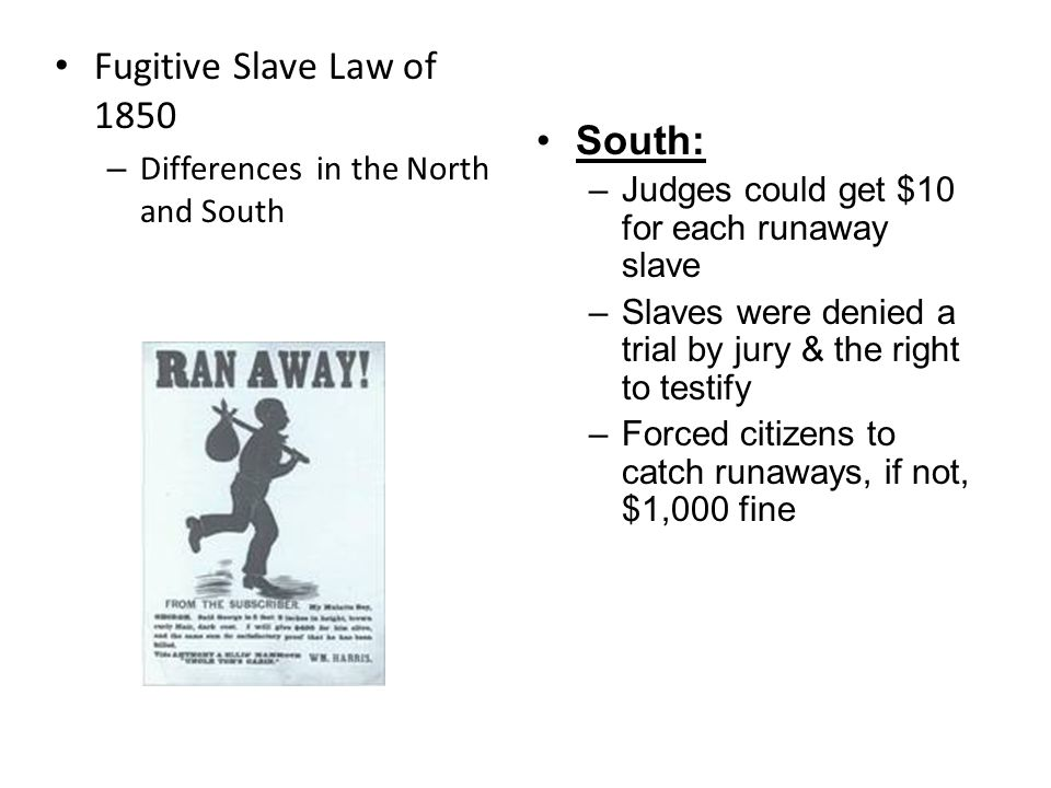 Fugitive Slave Law of 1850 South: Differences in the North and South