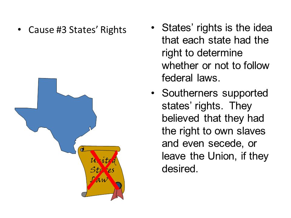States' rights is the idea that each state had the right to determine whether or not to follow federal laws.