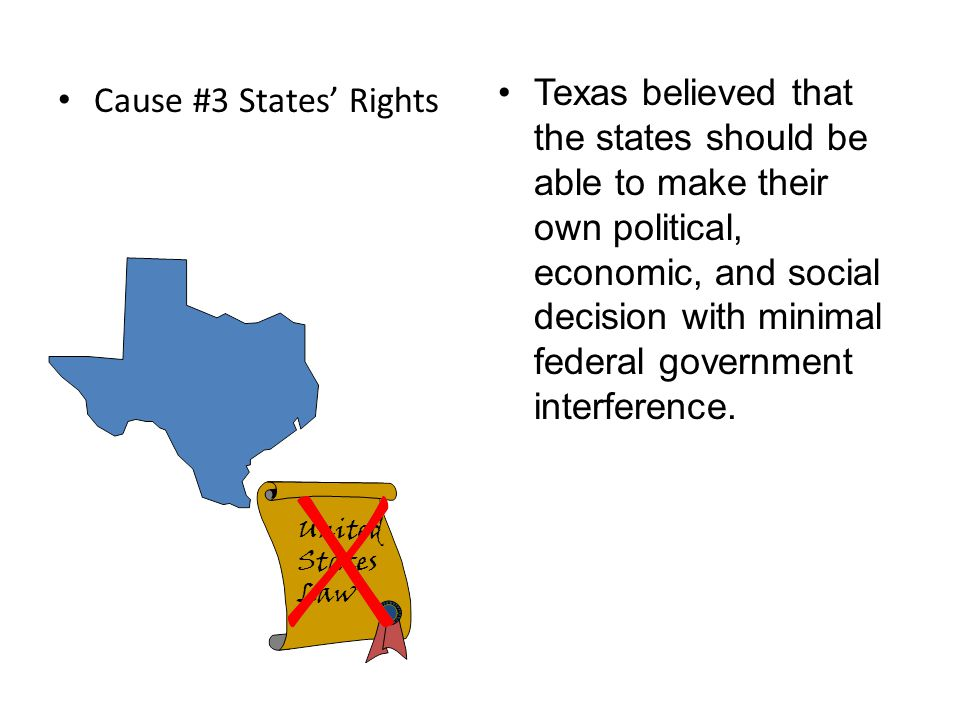 Texas believed that the states should be able to make their own political, economic, and social decision with minimal federal government interference.