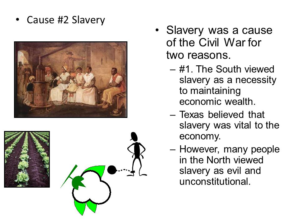 Slavery was a cause of the Civil War for two reasons.