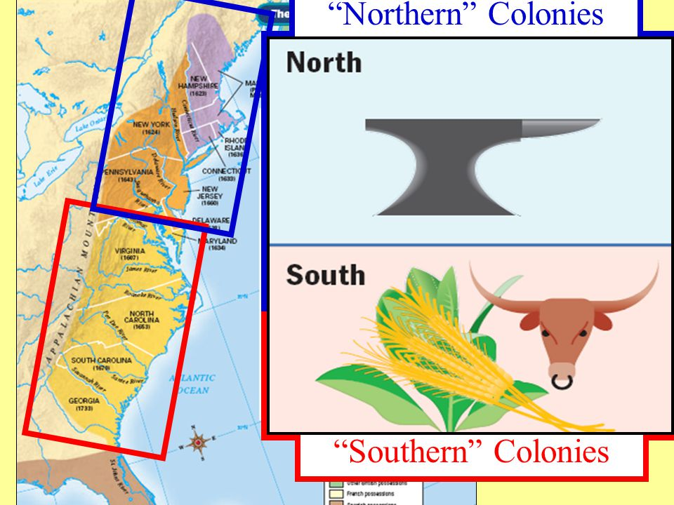 Northern Colonies Southern Colonies