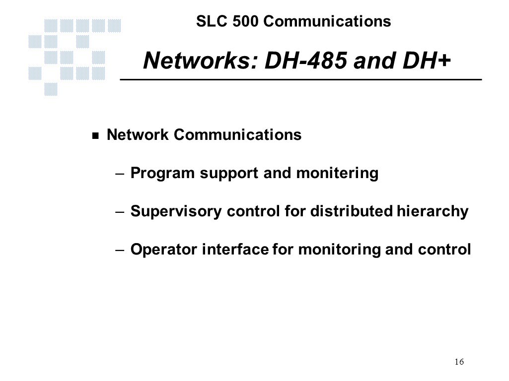 Networks: DH-485 and DH+ Network Communications
