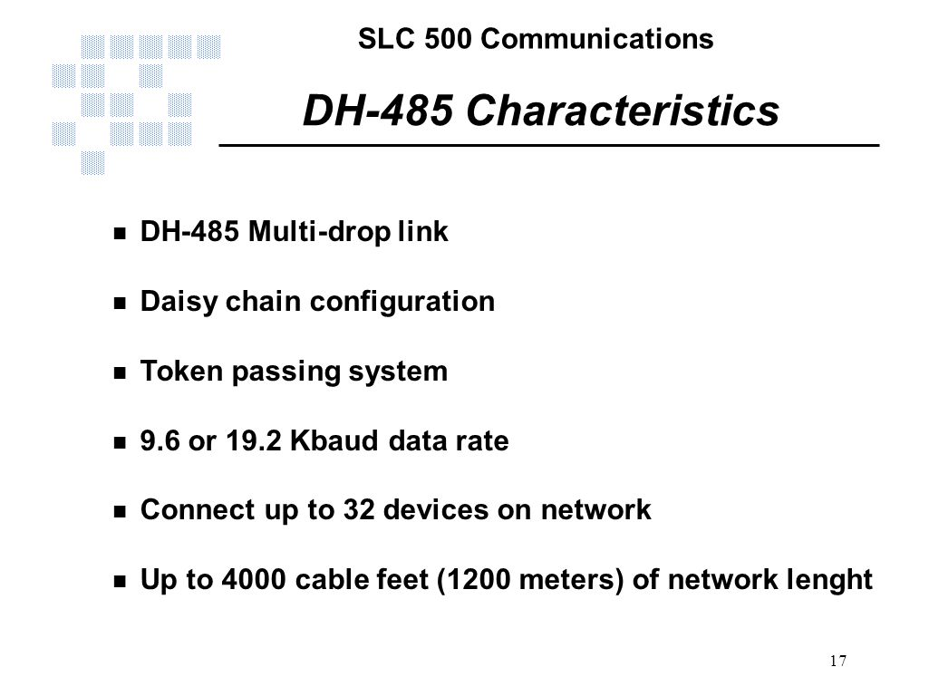 DH-485 Characteristics DH-485 Multi-drop link