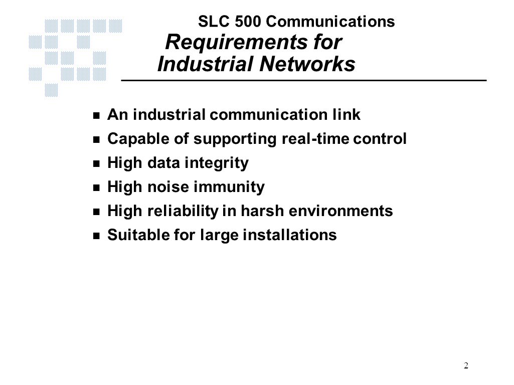 Requirements for Industrial Networks